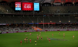 A crowd attendance of 6,464 is displayed during round 12 AFL match between the Sydney Swans and the GWS Giants at Optus Stadium, Perth, Thursday, August 13, 2020.
