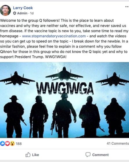 A prominent anti-vaccine propagandist appeals to QAnon followers. WWG1WGA is a QAnon catchphrase.