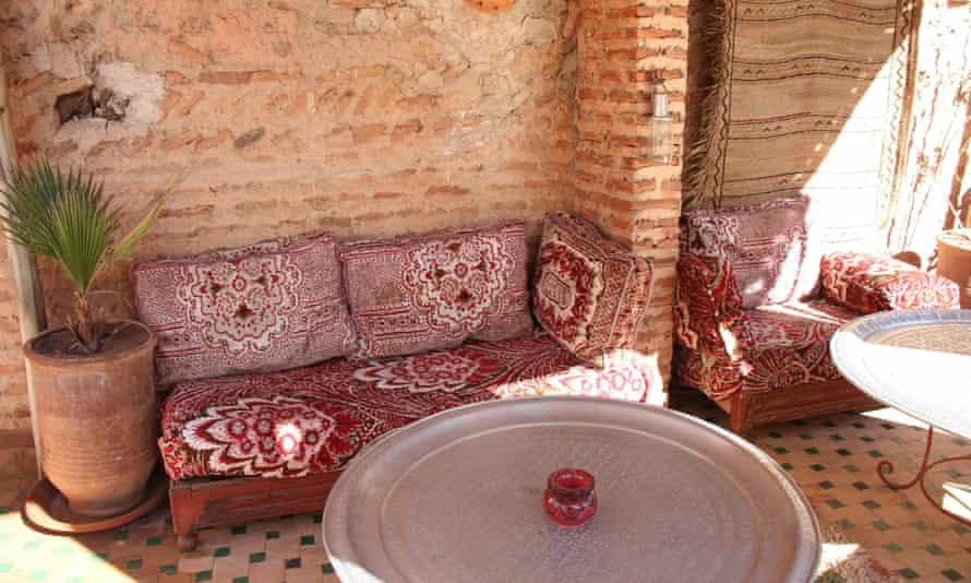 Roof terrace at Riad Dar Kleta, Marrakech, Morocco.
