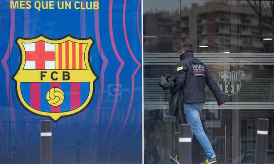 A police officer arrives at Barcelona's HQ.