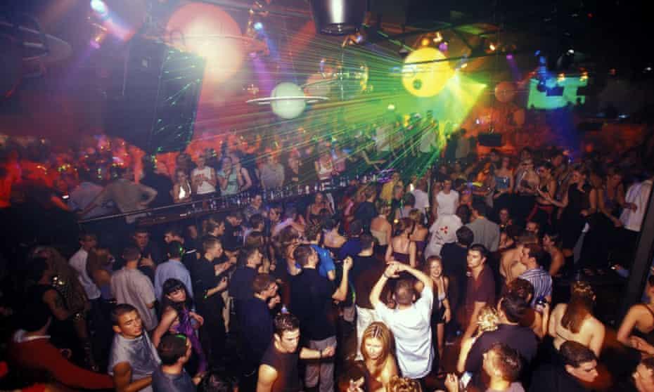 Nightclub with green laser lights
