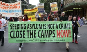 Refugee advocates march in Sydney calling for Australia to close its offshore detention centres.