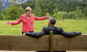 Angela Merkel talking to Barack Obama during a G7 summit in June 2015