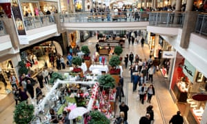 People shopping for Christmas at Bluewater, Kent.