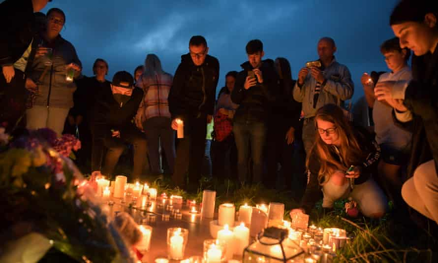 A candlelit vigil at North Down Crescent Park, Plymouth, on Friday
