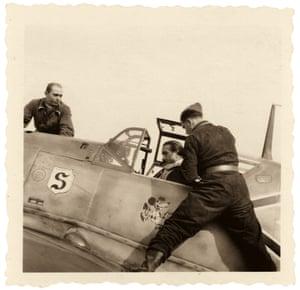 Staffelführer Adolf Galland with Unteroffizier Mayer, northern France, 1940