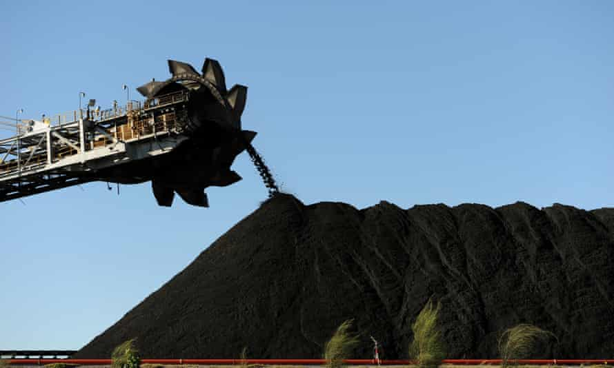 Coal stockpiled at the coal port of Newcastle in Australia's New South Wales state