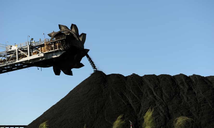 File photo of coal stockpiled at the Port of Newcastle, Australia