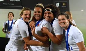 Italy Women v England Women - Womens Six NationsPARMA, ITALY - NOVEMBER 01: Vickii Cornborough, Detysha Harper, Shaunagh Brown and Leanne Riley of England celebrate after winning the Grand Slam during the Women's Six Nations match between Italy and England on November 01, 2020 in Parma, Italy. Football Stadiums around Europe remain empty due to the Coronavirus Pandemic as Government social distancing laws prohibit fans inside venues resulting in fixtures being played behind closed doors (Photo by Chris Ricco - RFU/The RFU Collection via Getty Images)