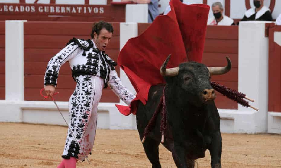 The bullfighter Finito de Córdoba performs at Begoña bullfighting festival in Gijón, Asturias, northern Spain, on 13 August.
