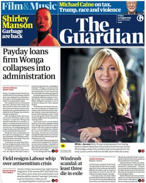 Guardian front page, 31 August 2018