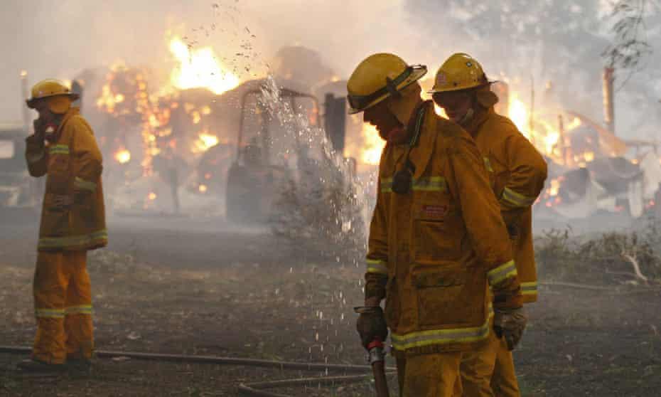 Firefighters near Labertouche, Victoria on Black Saturday in 2009.