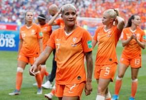Netherlands' Shanice van de Sanden looks dejected after the match.