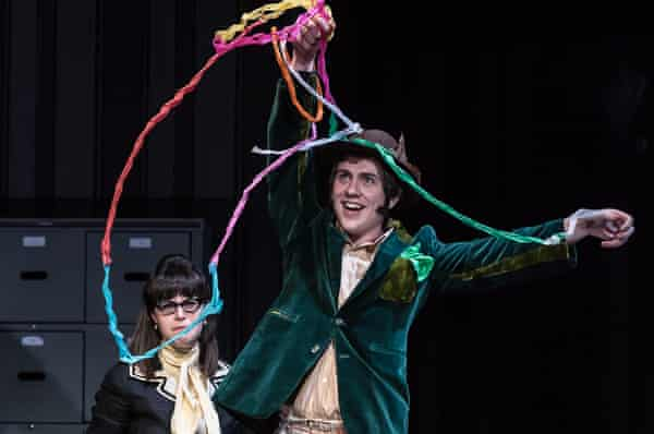 Daniel Mullaney as the Magician with Emily Kyte as Secretary in The Consul.