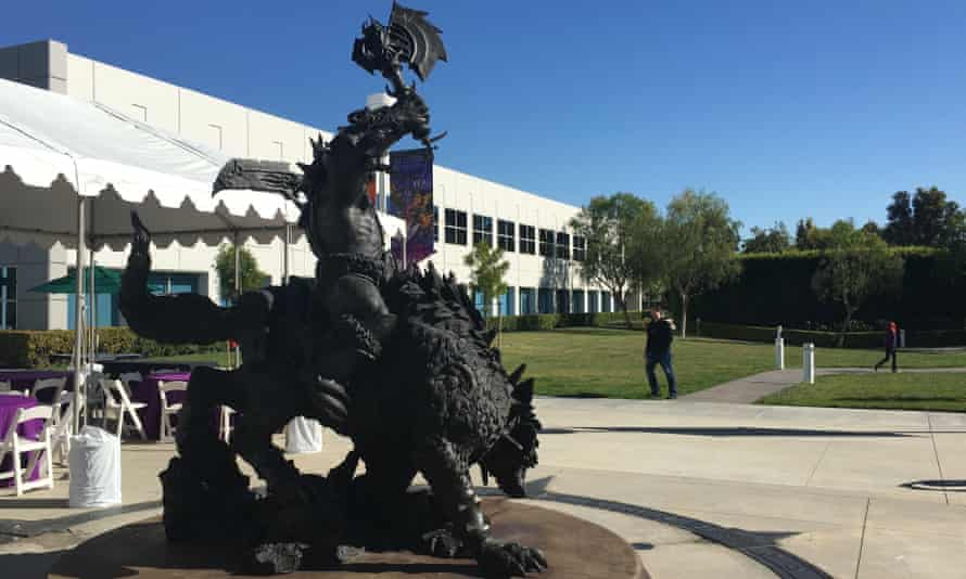 A statue of an orc riding a dire wolf commands the centre of Blizzard's HQ.