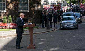 Boris Johnson speaking outside Number 10.