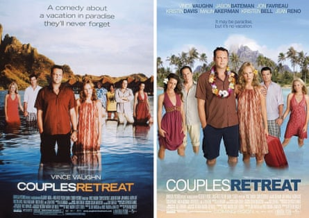 Couples Retreat: the US poster, left, with Faizon Love and Kalia Hawk, and the international version