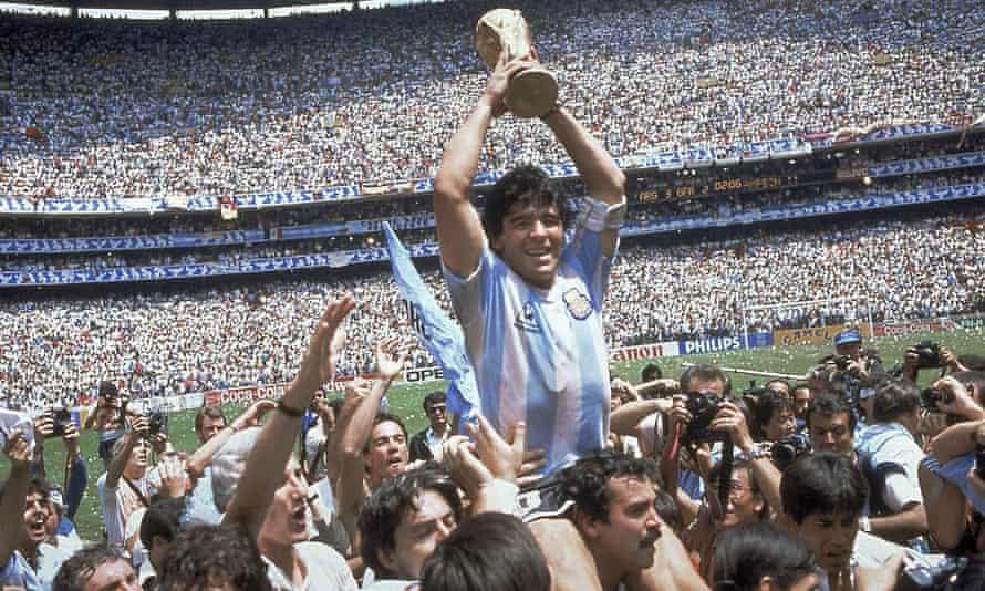 Diego Maradona with the 1986 World Cup