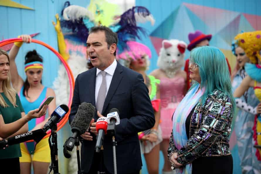 South Australian Premier Steven Marshall speaks to the media before the opening night of the Adelaide Fringe Festival on 14 February 2020