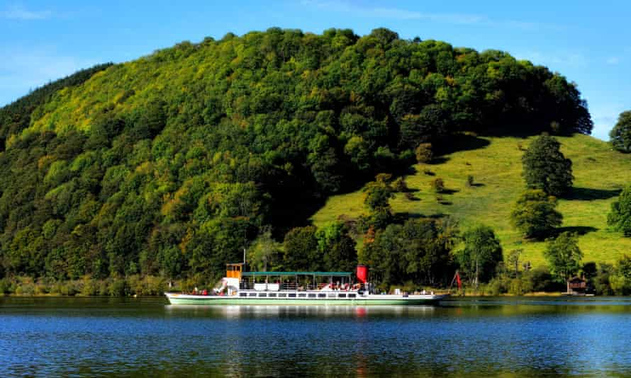 Steamer on Ullswater, Lake District, on a blue-sky day. UK.