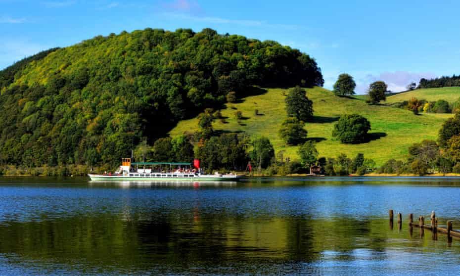 Passenger ferry on Ullswater, Lake District national park, Cumbria, England, UK.
