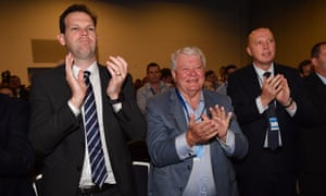 Senator Matt Canavan, the member for Flynn, Ken O'Dowd, and the home affairs minister, Peter Dutton, at the LNP  conference