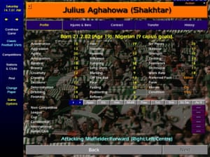 Julius Aghahowa's stats on Championship Manager.