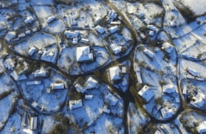 An aerial view of the Istrancalar is seen after season's first snowfall