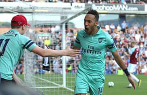 Arsenal's Pierre-Emerick Aubameyang celebrates scoring the opener as Arsenal beat Burnley 3-1 away at Turf Moor. Aubameyang, who scored twice, became only the second Premier League player to score 30+ goals in all competitions this season, after Sergio Agüero
