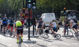 Cyclists on the cycle superhighway in Blackfriars. Eight further London superhighways are in limbo.