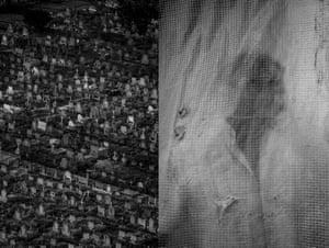 Fabiola Ferrero, Venezuela[Left] A cemetery in Portuguesa State, Venezuela. [Right] A farmer stands behind a plastic curtain in Portuguesa State, Venezuela. November 2017. Part of the project Blurred in Despair.