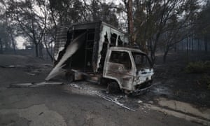 A burnt-out truck on the Princes Highway south of Nowra, New South Wales, on Wednesday.
