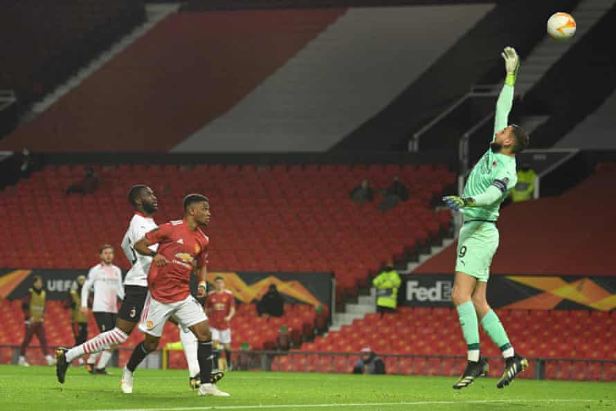 Amad Diallo scored his first goal for Manchester United in his third appearance for the English side.
