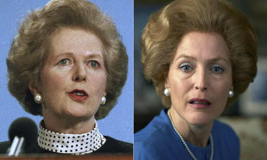 Margaret Thatcher, left, and Gillian Anderson portraying her in a scene from the fourth season of The Crown.
