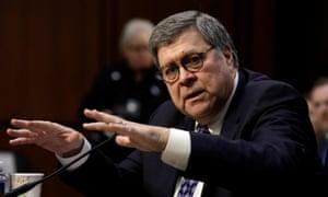 William Barr testifies before members of the Senate.