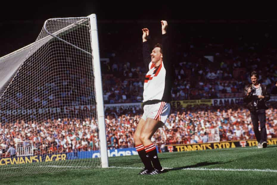 Michael Knighton engages with the fans at Old Trafford in August 1989, when it appeared he would buy the club.