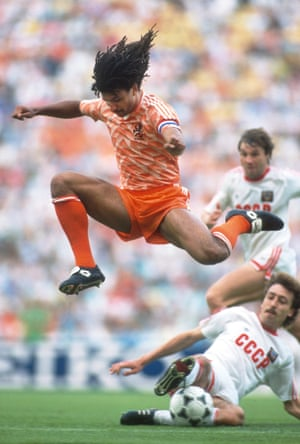 Ruud Gullit: 25 Jun 1988. Holland's Ruud Gullit skips a tidy challenge from the USSR's Sergei Aleinikov as Holland win the Euro 1988 final 2-0. Gullit scored the first goal of the game – a thumping header – before Marco van Basten's iconic strike sealed the win.