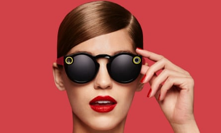 Snapchat advert showing woman wearing spectacles