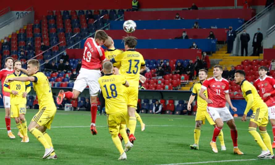 Aleksandr Sobolev scores his first goal for Russia, in a friendly against Sweden in Moscow in October 2020.