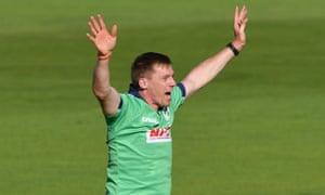 Ireland's Craig Young celebrates taking the wicket of England batsman Jason Roy.