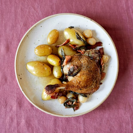 Anna Tobias' slow-roast duck legs, onions and jersey royals.