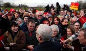 Jeremy Corbyn addressing supporters in Middlesbrough.