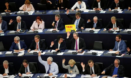 MEPs take part in a voting session on modifications to EU copyright law at the European parliament in Strasbourg.