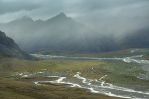 Rivers run through the lush tundra valleys of Alaska's Arctic National Wildlife Refuge.