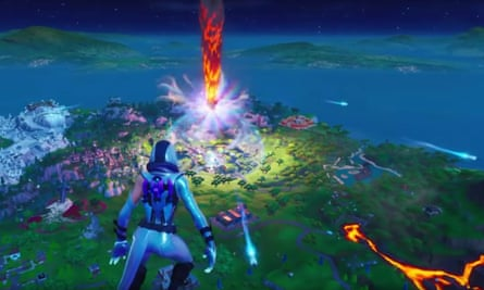 Fortnite's End … a player watches on helpless as an asteroid makes impact.
