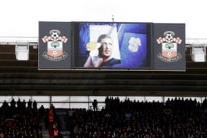 A tribute to Emiliano Sala is seen on the big screen at St Mary's.