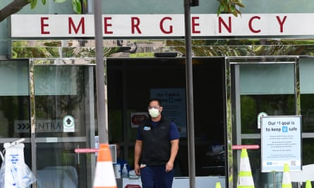A medical worker wears a face mask at UCLA Emergency Medicine in Los Angeles.