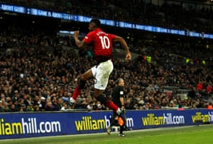 Marcus Rashford celebrates after scoring