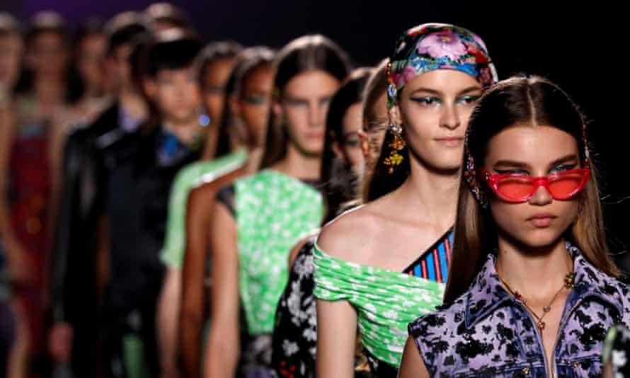 Models at the Versace show during Milan Fashion Week