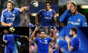 Clockwise from top left: Andriy Shevchenko, Franco Di Santo, Fernando Torres, Olivier Giroud, Radamel Falcao and Didier Drogba.